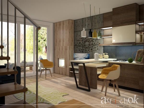 Гостиная, кухня, столовая загородного особняка в ЭКО стиле