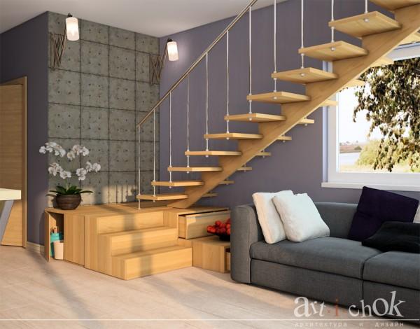 Гостиная загородного особняка в ЭКО стиле, лестница на второй этаж