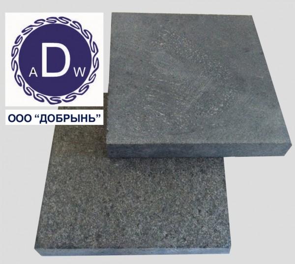 Гранитные плиты мощения. Термообработанная поверхность. Габбро. Толщина 80 мм