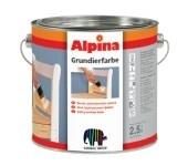 Грунтовка Alpina GRUNDIERFARBE белая. Белая грунтовочная краска для наружных и внутренних работ.