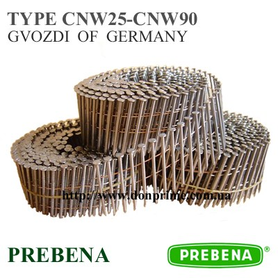 Гвоздь гладкий в бобине для пневмопистолета Тип - CNW