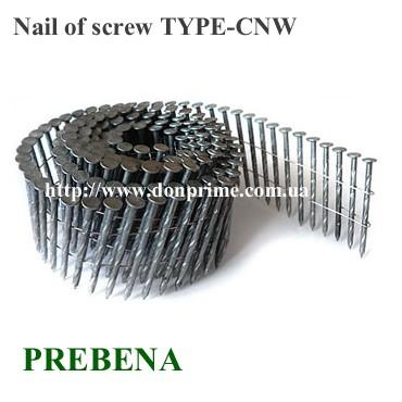 Гвоздь винтовой в бобине для пневмопистолета Тип - CNW