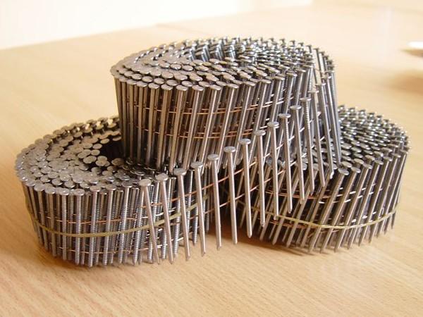 Гвозди кольцевые крученые 40, 50, 60, 70, 80, 90 для изготовления поддонов на бобинах по 250 шт для пневмопистолета