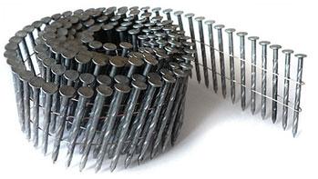 Гвозди в бобинах (для работы с пневмомолотками) Сечение: круглое, винтовой и кольцевой накат.