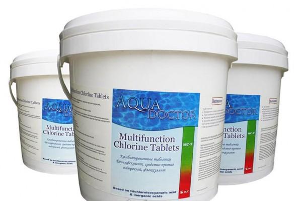 Химия для бассейнов AquaDOCTOR МС-Т, хлорные таблетки 200гр (емкость 5кг)