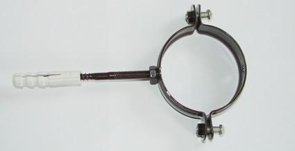 Хомут для труб 105 мм, коричневый, белый
