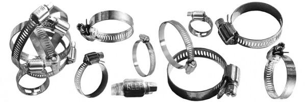 Хомут стальной оцинкованный червячного типа 10-16 мм.