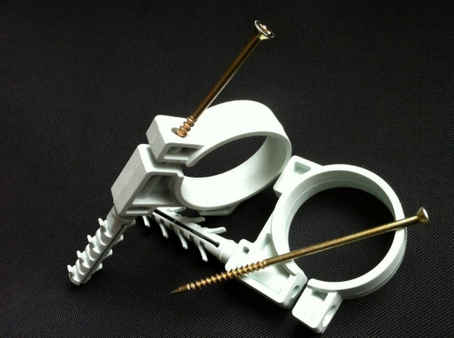 хомут. зажим, обойма быстрого монтажа с ударным шурупом для крепления труб и кабеля.11 типоразмеров от 10 до 63mm