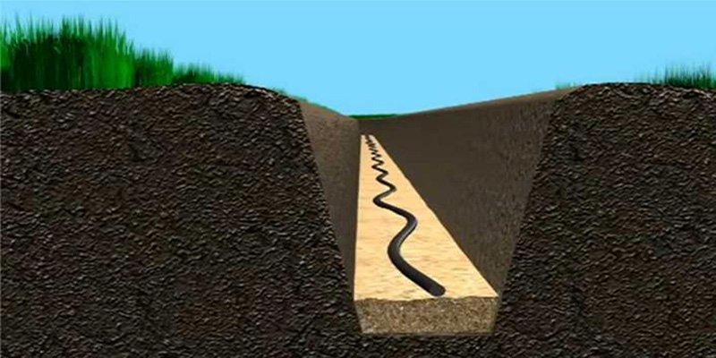 Фото силового кабеля в земле klaster.ua