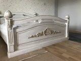 Кровать из массива, Белого Цвета, Резьба