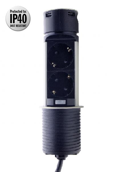 Фото  1 Выдвижной блок розеток ElectroHouse Ø60 2x220V 2xUSB IP40, металл 2341511