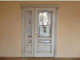 Двері з Масиву Дуба, Класика, Колір Слонова Кістка з Золотою Патиною