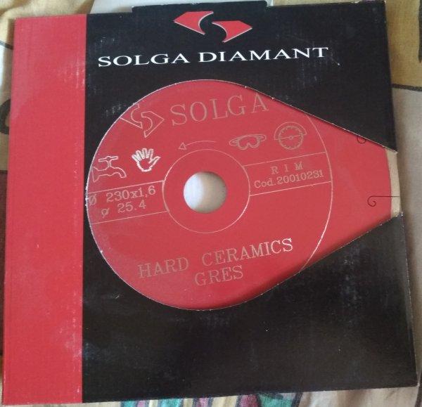 Фото  1 Алмазный круг для резки керамогранита Solga Diamant HARD CERAMICA 230 мм (грес) на станок 25,4 с водой 236921
