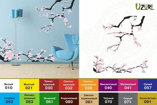 Интерьерная наклейка на стены Сакура Размеры: 700х220мм, 420х355мм 400х120мм, 240х200мм