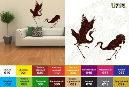 Интерьерная наклейка: Журавлиные танцы Птицы: 517х440мм, 428х800мм Птицы: 546х550мм, 535х1000мм