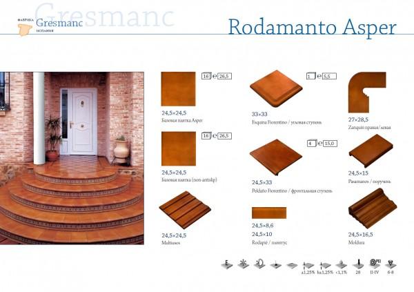 Испанские клинкерные ступени, подступенки с рисункам орнаментом, плитка 310*310,245*245 Gresmanc Rodamanto