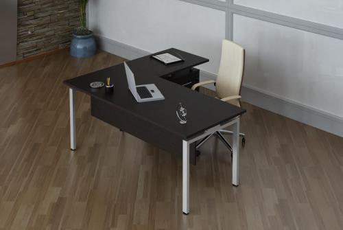 """Кабинет для руководителя, серия """"Директ"""" - стол прямой, тумба стационарная c приставным элементом."""