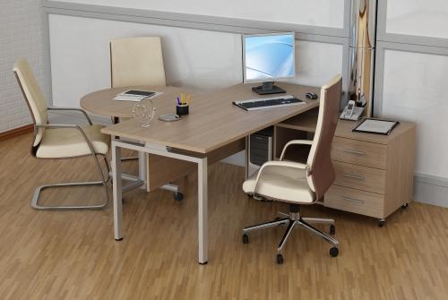 """Кабинет для руководителя, серия """"Директ"""" - стол прямой, тумба мобильная, стол конференц."""