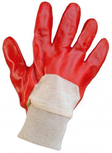 KADO, трикотажная х/б перчатка с полным покрытием ПВХ, красный цвет, трикотажный манжет, р.10,5