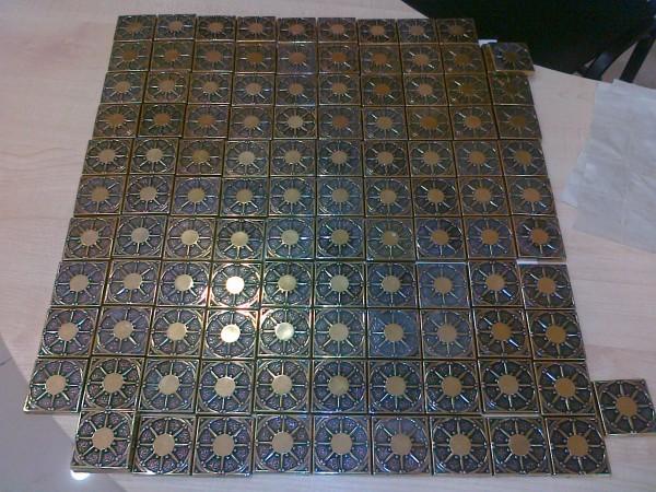 Калипсо 5х5 латунная вставка для напольной керамической плитки, керамогранита