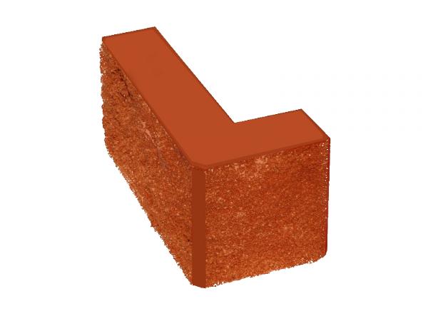 Камень заборный Угловой 390*190*190*100 КРАСНЫЙ