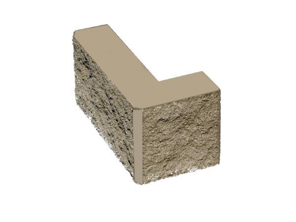 Камень заборный Угловой 390*190*190*100 СЕРЫЙ