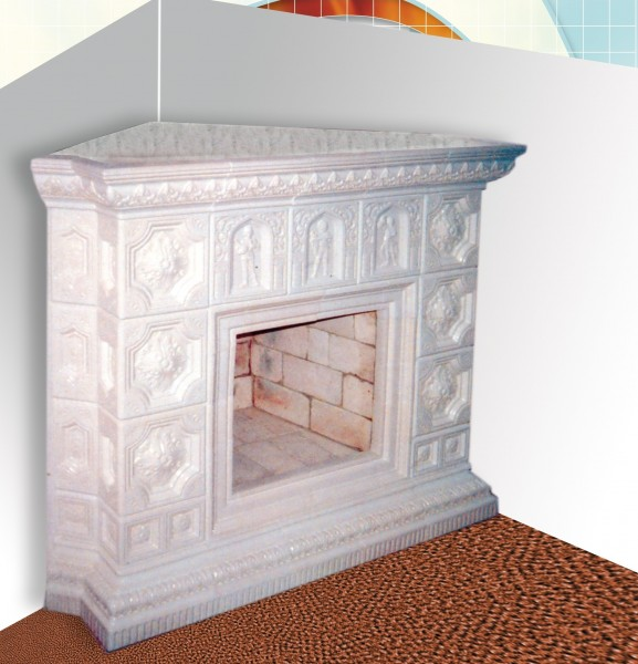 камін кахельний кутовий (розпис - під замовлення, широкий вибір кольорів)