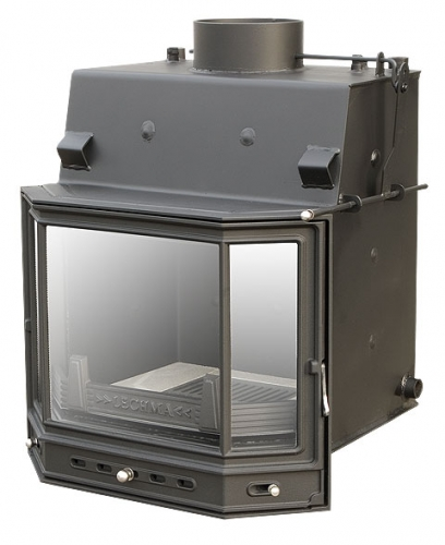 Камин с водяной рубашкой, стекло призма раздельная,12 кВт, круглосуточное горение!