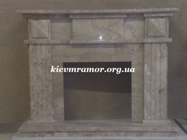 Камины из мрамора светлый беж. Габариты, мм: Ш-В-Г 1250-1030-350