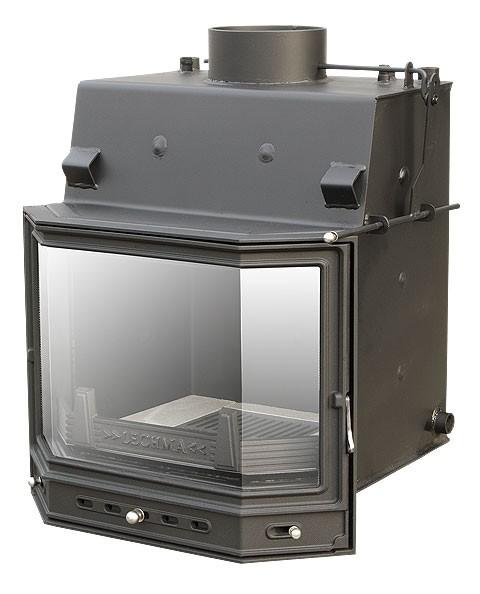 Каминная топка с призматическим цельным стеклом PL-190. Водяная рубашка для отопления всего дома. Мощность 19 кВт.