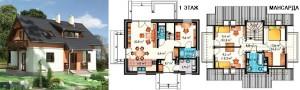 Канадский Дом 113,6 м2 за 381 y. e/м2 , проект «РУТА» - Технология SIP