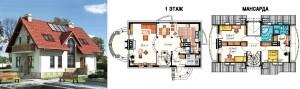 Канадский Дом 145,0 м2 за 369 y. e/м2 . , проект «АТАШЕ» - Технология SIP