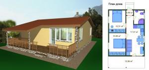 Канадский Дом 43,33 м2 за 459y. e/м2 . проект «ПРАКТИЧНЫЙ» –« S» - Технология SIP