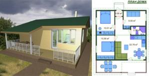Канадский Дом 56,31 м2 за 460 y. e/м2 проект «Практичный» - Технология SIP