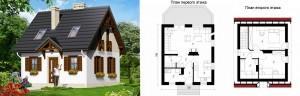 Канадский Дом 70,00 м2 за 420 y. e/м2 проект «ДОМ В БРУСНИКЕ» - Технология SIP