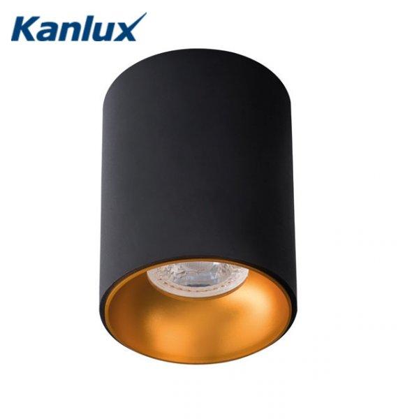 Фото  1 Декоративный потолочный светильник Kanlux RITI GU10 85x110 черно-золотой, алюминий 1955528
