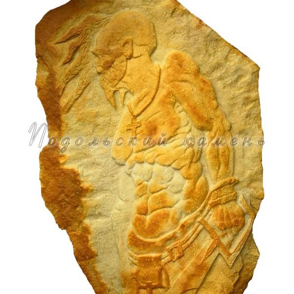 Картина на камне Казак Размеры 90x55 см. Камень песчаник