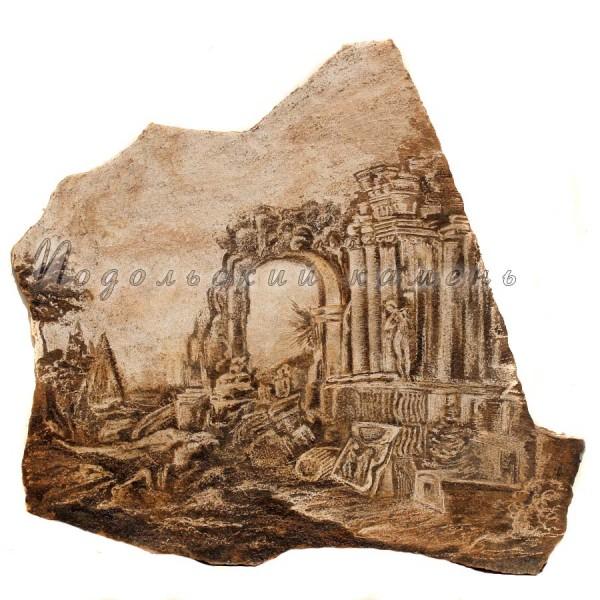 Картина на камне Руины храма Песчаник 70х70 см.