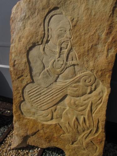 Картина на камне, выполнена на природном камне песчанике. Ручная работа. Размер 45см х 70см