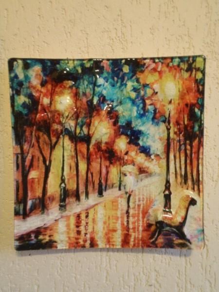Картина на стекле Аллея с лавочкой Размер 29см*29см
