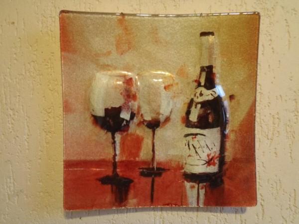 Картина на стекле Бокалы с вином Размер 29см*29см