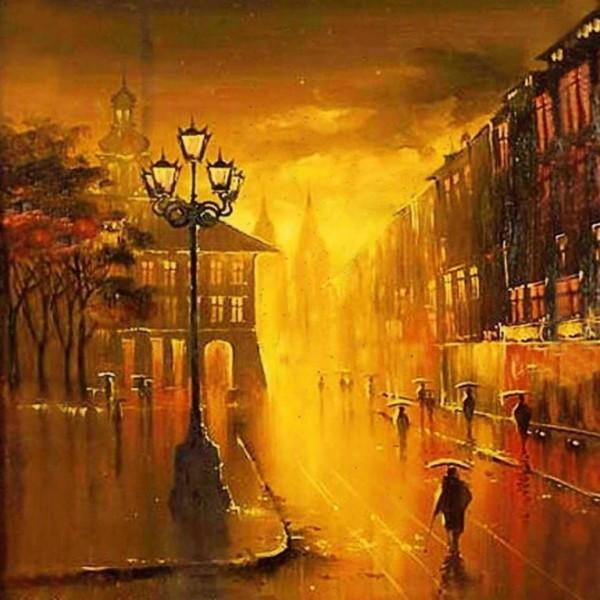 Картина на стекле Львовская ратуша Размер 29см*29см