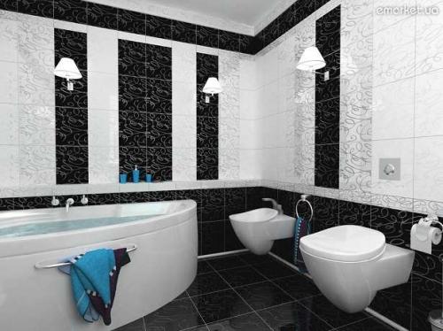 черно белый кафель в ванной комнате дизайн фото