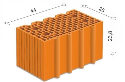 Керамический блок 44 Porotherm для несущих стен