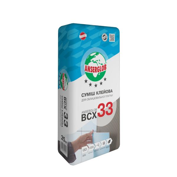Клей для плитки Anserglob BCX-33, плитка не більше 300 * 300, в мішках 25 кг, опт