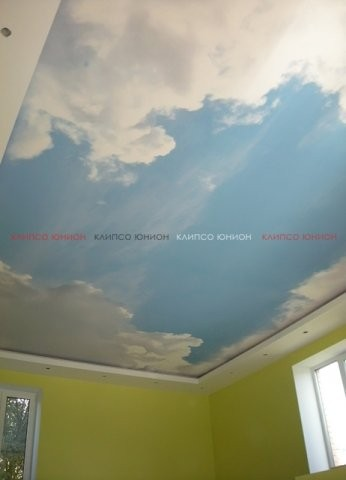 Клипсо Юнион натяжной тканевый бесшовный потолок с любым принтом - УФ интерьерными красками яркие и насыщенные цвета