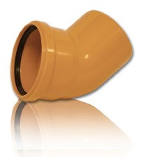 Колено ПВХ для безнапорной внешней канализации D 200 х 15*