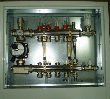 Коллектор для теплого пола Luxor на 4 выхода в сборе SGP 4, 25/40, 16x2