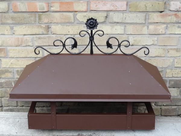 Колпак на дымоход с декоративными элементами: ковкой, жалюзями, с битумной черепицей. Колпак с усиленными элементами