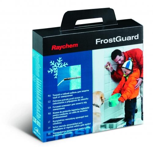 Комплект FrostGuard : саморегулируемый кабель с концевой заделкой и подсоединенным кабелем длиной 2м питания с вилкой.